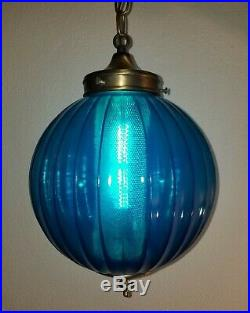 Vintage Mid Century Turquoise Blue Ball Shade Glass Hanging Swag Lamp