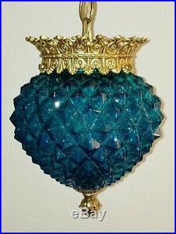 Vintage Mid Century Turquoise Saphiret Glass Hanging Ceiling Fixture Light #1