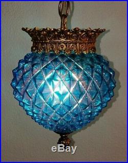 Vintage Mid Century Turquoise Saphiret Glass Hanging Ceiling Fixture Light #2