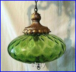Vintage Mid Century UFO Green Glass Swag Hanging 3 Light Fixture Tested Works