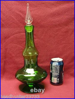 Vintage Mid Century hand blown Art Glass DECANTER, Lime Green/Air Bubble Stopper