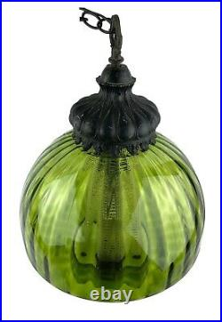 Vintage Midcentury Modern Large Green Glass Swag Lamp with Diffuser