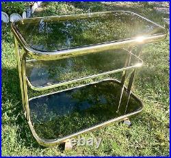 Vintage Milo Baughman Style mid century modern retro Chrome Glass Bar Tea Cart