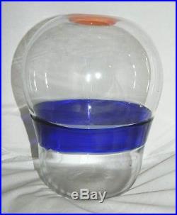 Vintage Modern European Eames Era Mid Century Art Studio Orange Blue Glass Vase