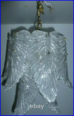 Vintage Murano Mazzega Glass Leaf Chandelier Light Barovier Toso Mid Century