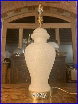 Vintage Murano Mottled White Glass Table Lamp, Mid Century Italian Glass