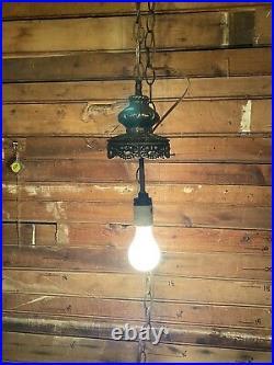 Vintage Ornate Swag Lamp Glass Hanging Light Mid Century Modern Read