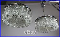 Vintage Pair Glass Chandeliers Pendant Lamps Mid Century Kaiser Kalmar Doria