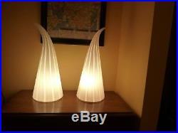 Vintage Pair Mid Century Modern Blown Art Glass Horn Vetri Murano Table Lamps