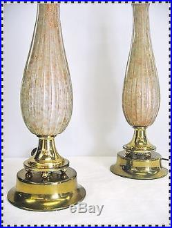 Vintage Pair Mid Century Modern MURANO Italy Glass Lamps Gold Glitter Sparkle