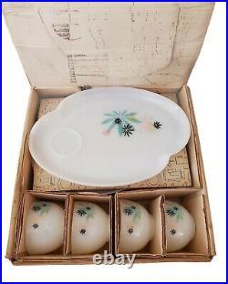 Vintage Patio Snack Set Milk Glass Atomic Flower Orig. Box Federal Mid Century