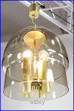 Vintage Pendant Lamp Mid Century Smoked Glass & Brass Chandelier