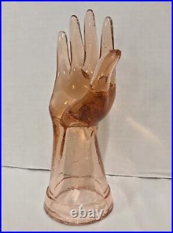 Vintage Pink Glass Hand Sculpture Mid Century Modern 8 High