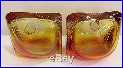 Vintage Pukeberg Amber Bookends Bud Vases Mid Century Modern Sweden Eames Era