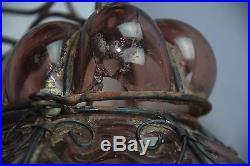 Vintage Purple Swag Mid-Century Glass Globe Lamp Pendant Hanging Ceiling Light