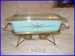 Vintage Pyrex Atomic Starburst Casserole with Lid & Warmer Frame Mid Century