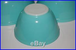 Vintage Pyrex Turquoise Standard Mixing Bowls Set of 4 Retro Mid Century