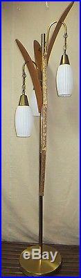 Vintage Retro MID Century Era Teak Walnut 3 Glass Shade Floor Lamp Nice