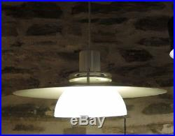 Vintage Scandinavian Pendant Light Mid Century Modern Design Glass & Enamel
