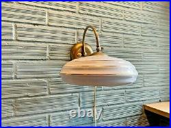 Vintage Sconce Space Age Lamp Atomic Design Mid Century UFO Light Wall Glass