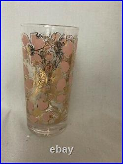 Vintage Set of 7 Mid Century Pink and Gold Dogwood Fred Press High Ball Glasses