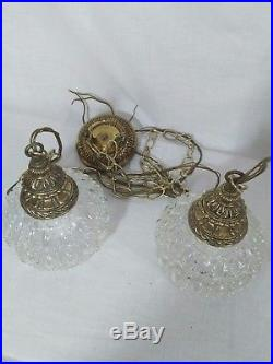 Vintage Swag Double Globe Pendant Light Swag Lamp Clear Glass Mid Century MCM