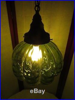 Vintage Swag Lamp Hanging Light Green Art Glass Mid Century Modern Retro