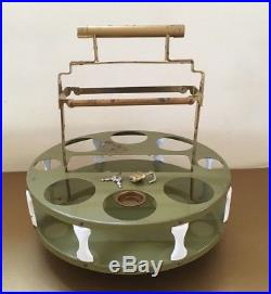 Vintage Tantalus Decanter Set Mid Century Modern Bar Caddy with Glasses & Lock