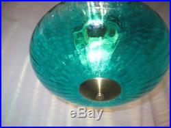 Vintage Teal Turquoise Glass Swag Lamp & Brushed Gold Atomic MID Century Exc