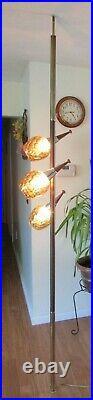 Vintage Tension Pole Floor Lamp With 3 Orange Glass Lights Mid Century Modern 50's