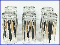 Vintage Tumbler Glasses Set 6 Mid Century Modern Black/Gold Atomic Cattails 5.5