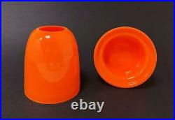 Vintage Vibrant Orange Cased Glass Fairy Lamp Hurricane Light MID Century