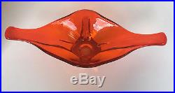 Vintage Viking Mid Century Glass Teardrop Amberina Tangerine Orange Bowl dish