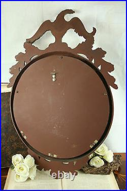 Vintage mid century Wall Mirror convex glass Eagle Resin cast wood