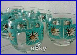 Vintage mid century modern orig. Starburst gold turquoise 7 drinking glassware