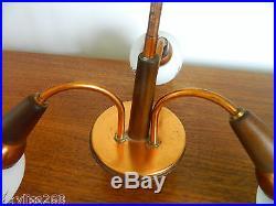 Vintage/retro MID Century Copper Ceiling 3 Arm Light Fitting Metal/glass Teak