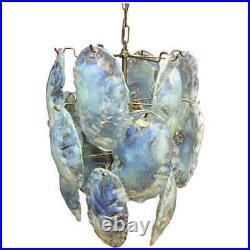 Vistosi Mid-Century Modern Opalescent Murano Glass Italian Chandelier 1970