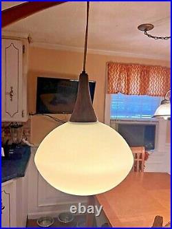 Vntg Mid Century Modern Danish Hanging Light Pendant Wall Mount Swing Arm Lamp