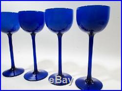 Vtg CARLO MORETTI Murano MIDCENTURY Saphire BLUE Cobalt 4 Tall Wine GOBLETS