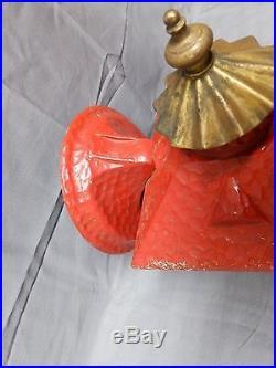 Vtg Cast Aluminum Red Gold Porch Sconce Heavy Glass Mid Century Light 2016-16