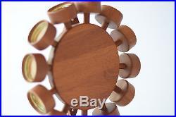 Vtg Digsmed Spice Rack Rotating Wheel Teak 12 glasses Danish midcentury
