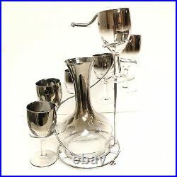 Vtg Dorothy Thorpe Silver Fade Mid Century Mod Wine Glasses Carafe Spiral Caddy