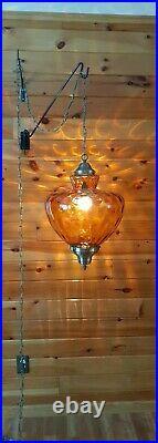Vtg HUGE Mid Century Retro Hanging Swag Light/Lamp Amber Rootbeer Glass Design