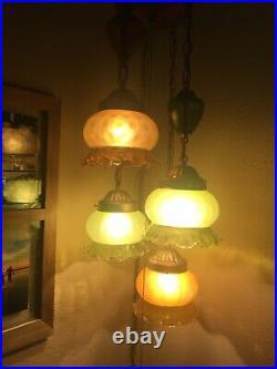 Vtg. Hollywood Regency Amber Green Glass Hanging MID Century 4 Tier Light Swag