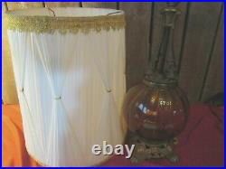 Vtg Hollywood Regency Mid Century Modern Amber Glass Table Lamp w barrel shade