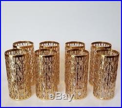 Vtg Imperial Glass El Tabique de Oro 8 Gold Highball Mid Century Glasses Barware