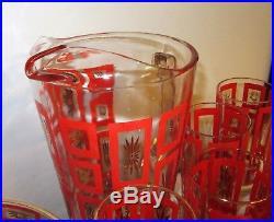 Vtg MID CENTURY MODERN Glasbake Pitcher Glasses Atomic RED Gold Party set Rare