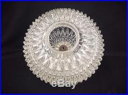 Vtg MID Century Swag Hanging Light Fixture Diamond Pointed Glass Globe