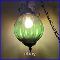 Vtg MId Evil MCM Green Glass Globe Hanging Swag Lamp Light Metal Chain