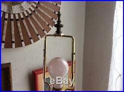Vtg Mid Century Amber Glass Globe Table Lamp light mcm modern Hollywood Regency